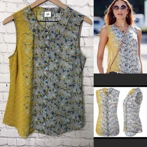 CAbi sleeveless button blouse 50/50 style 5221